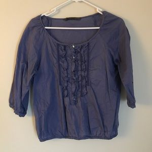 ZARA BLUE BUTTON UP RUFFLED BLOUSE